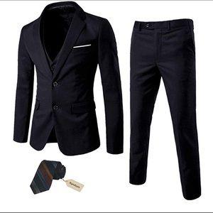 0519Men's 3 Piece Suit Notch Lapel 2 Button Blazer